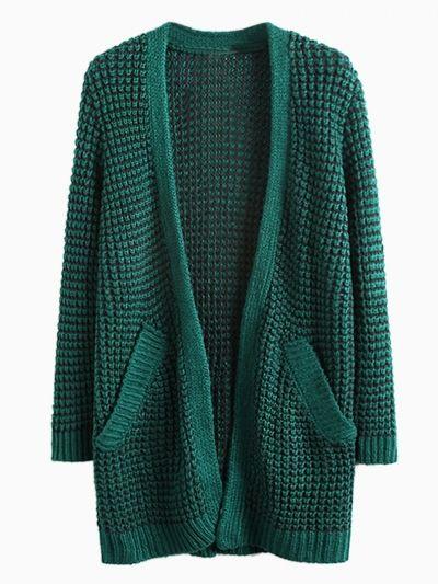 Dark Green Pocket Loose Longline Knit Cardigans