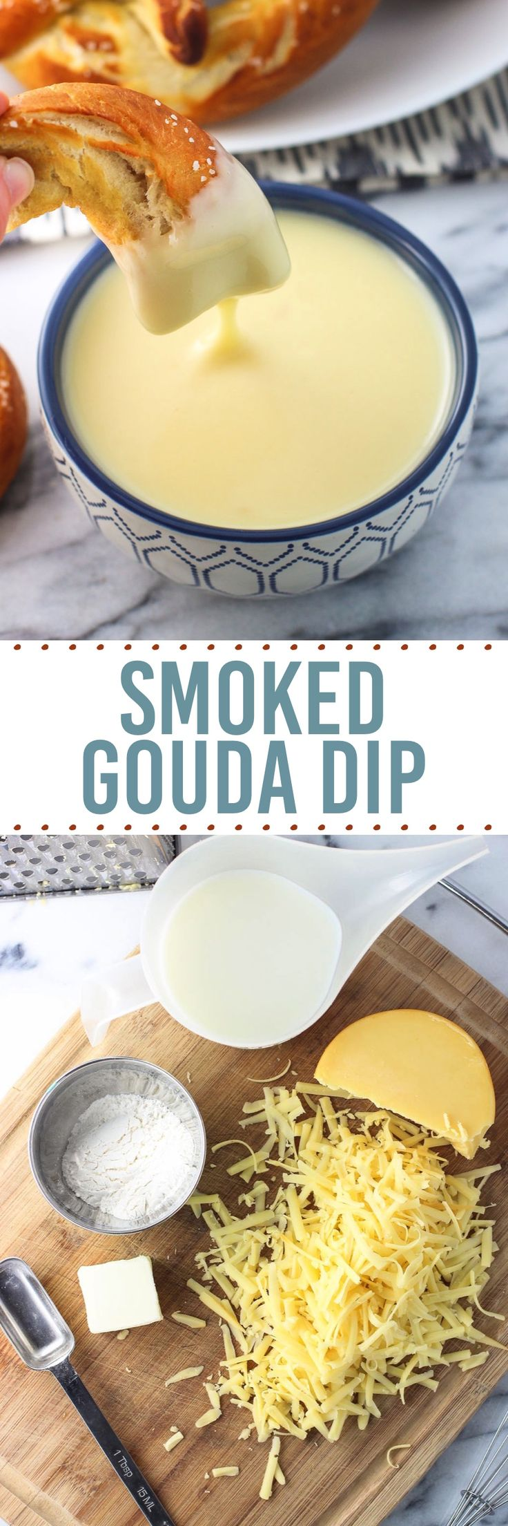 Thick and creamy smoked gouda dip is a four-ingredient dip that's great for dipping homemade pretzels, veggies, and more. It's an easy, impressive recipe!