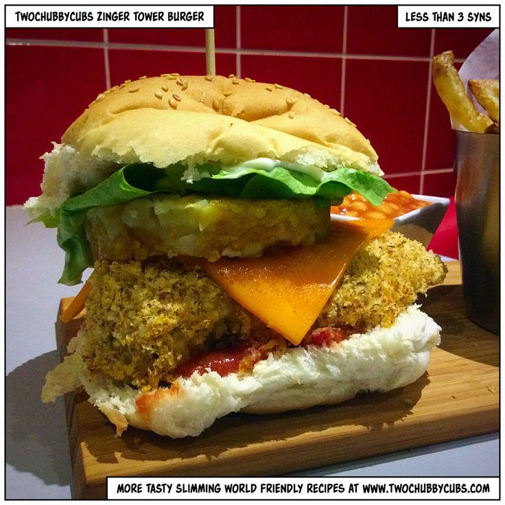 This Slimming World version of KFC's zinger tower burger includes breaded chicken, lettuce, salsa, a hash brown and...aaah it's just wonderful! Remember, at www.twochubbycubs... we post a new Slimming World recipe nearly every day. Our aim is good food, low in syns and served with enough laughs to make this dieting business worthwhile. Please share our recipes far and wide! We've also got a facebook group at www.facebook.com/twochubbycubs - enjoy!