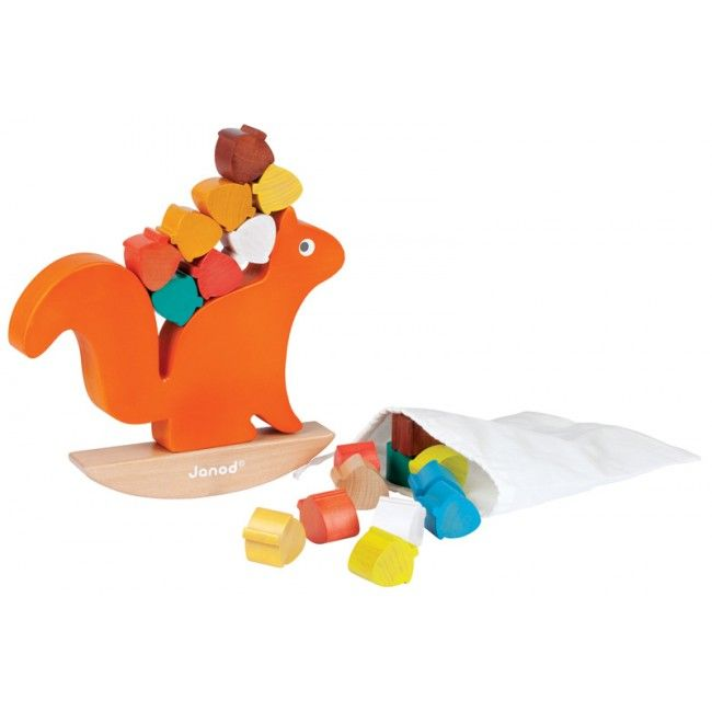 A gorgeous wooden squirrel balancing game! Mr Squirrel needs to move all 20 acorns to its tree home, but he needs your help! This colourful game teaches little ones about balance and dexterity. All pieces are finished with water colour paints. How many can you stack before they tumble down? #entropytoys #janod #woodentoy #balance #toystore #squirrel
