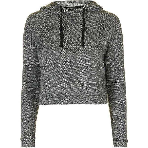 TopShop Sporty Loungewear Hoodie ($32) ❤ liked on Polyvore featuring tops, hoodies, grey, gray hooded sweatshirt, gray crop top, grey hoodie, cropped hooded sweatshirt and cotton hoodies