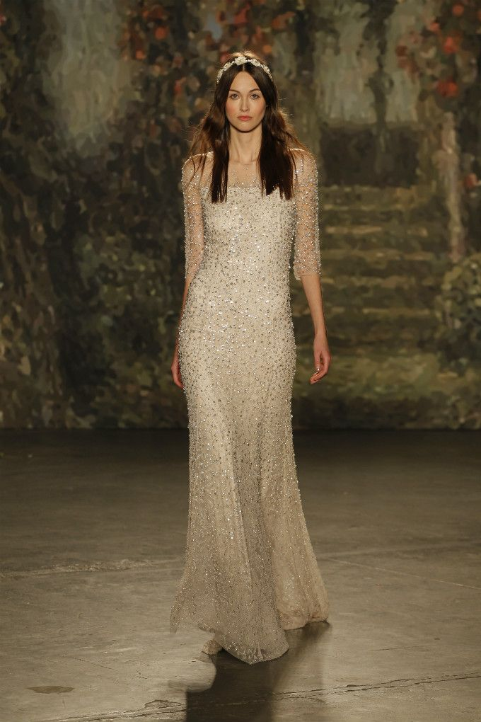Sheer beaded wedding gown | Jenny Packham 2016 Bridal Collection