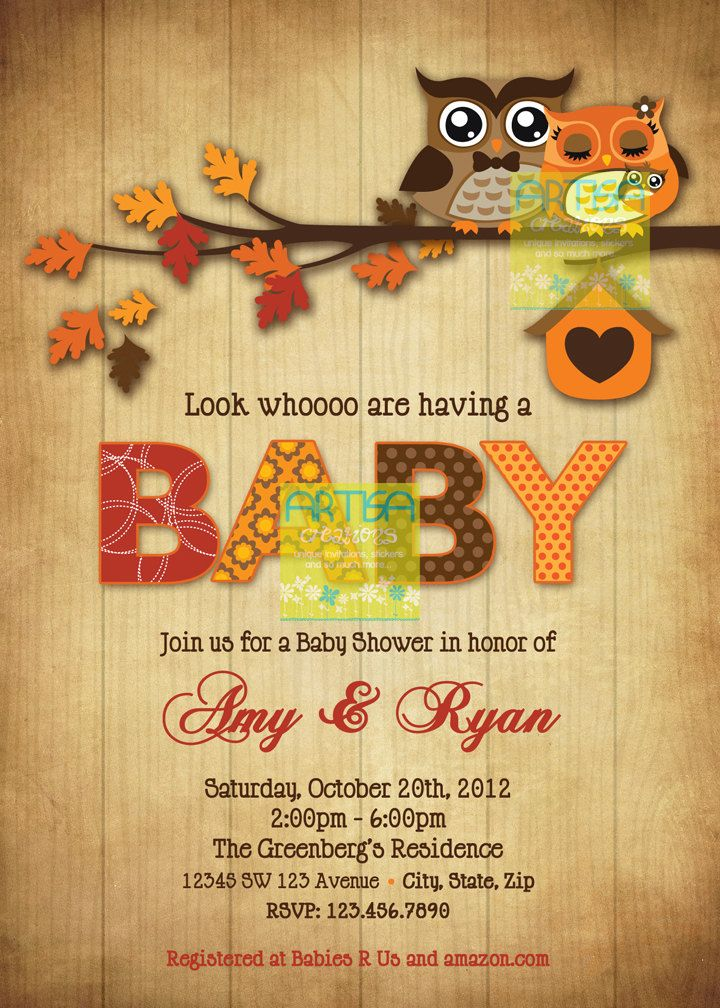 best owl baby shower images on   owl baby showers, Baby shower invitation