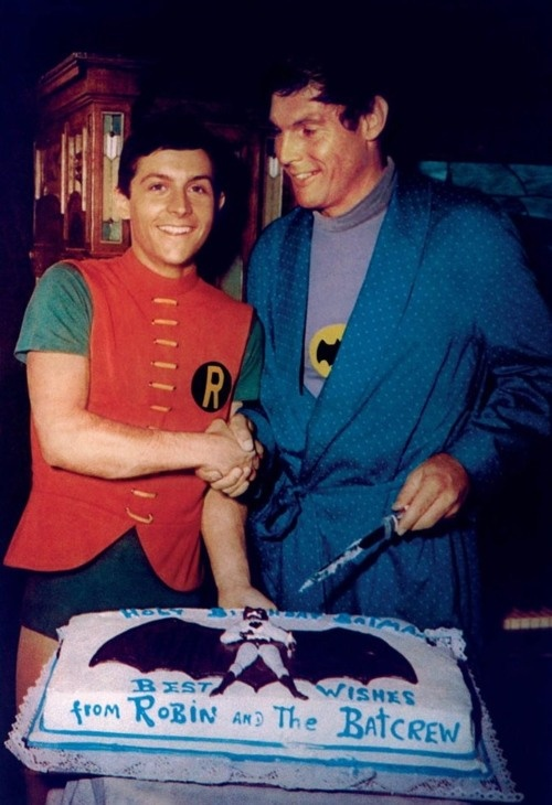 """Burt Ward (robin) and Adam West (batman) 1955...""""To the bat mobile!""""  1955?  I thought more like 1965."""