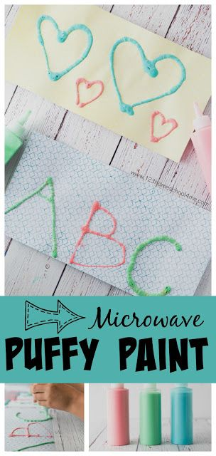 Homemade Puffy Paint recipe with just a couple simple ingredients you have in your cabinets and the microwave for this fun-to-make crafts for kids. We use it to practice letter recognition, make pictures, etc. Preschool, preschoolers, kindergarten