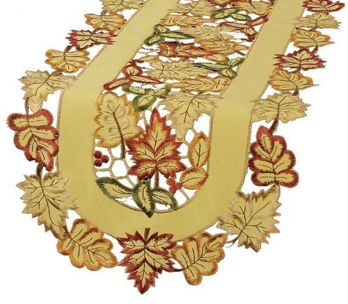 Xia Home Fashions Bountiful Leaf Embroidered Cutwork Table Runner, 16 by 36-Inch