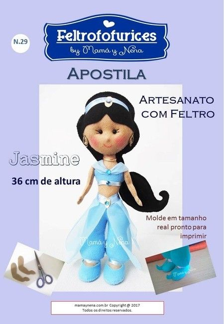 Apostila Princesa Jasmine em Feltro N. 29 - Mamá y Nena