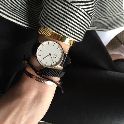 shopnexdoor - 2 x Bracelets Bonnie Parker Le Classic or jaune et Bonnie and Clyde or rose - Montre Daniel Wellington sheffield or rose - Bracelet tissé Pura Vida