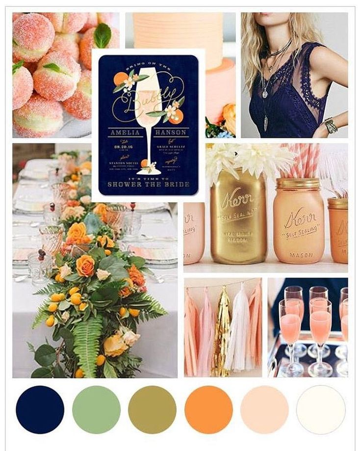 "808 Likes, 19 Comments - Wedding Paper Divas (@weddingpaperdivas) on Instagram: ""Decorations in refreshing shades of peach and navy are all you need for this bridal brunch she'll…"""