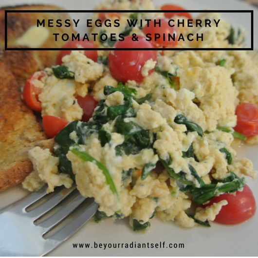 Messy Eggs with Cherry Tomatoes & Spinach