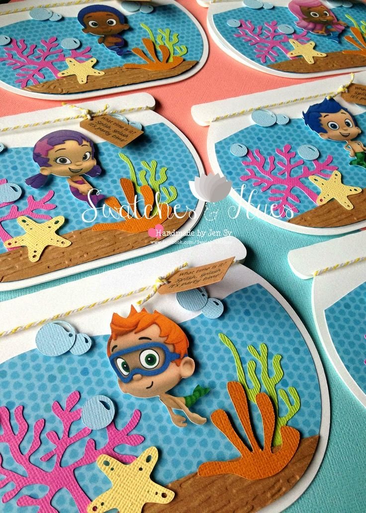 Swatches & Hues : Handmade with TLC: Bubble Guppies themed aquarium invites