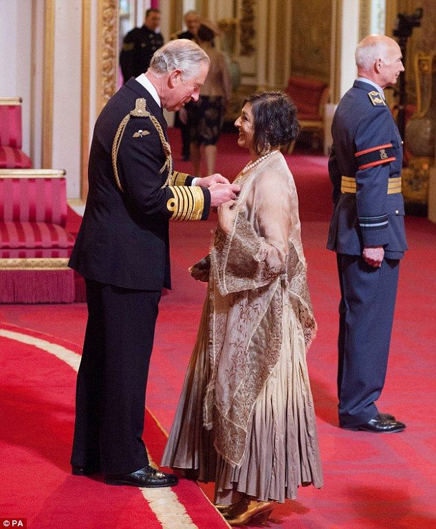 Proud: Actress Meera Syal was bestowed with a prestigious CBE by the Prince of Wales on We...