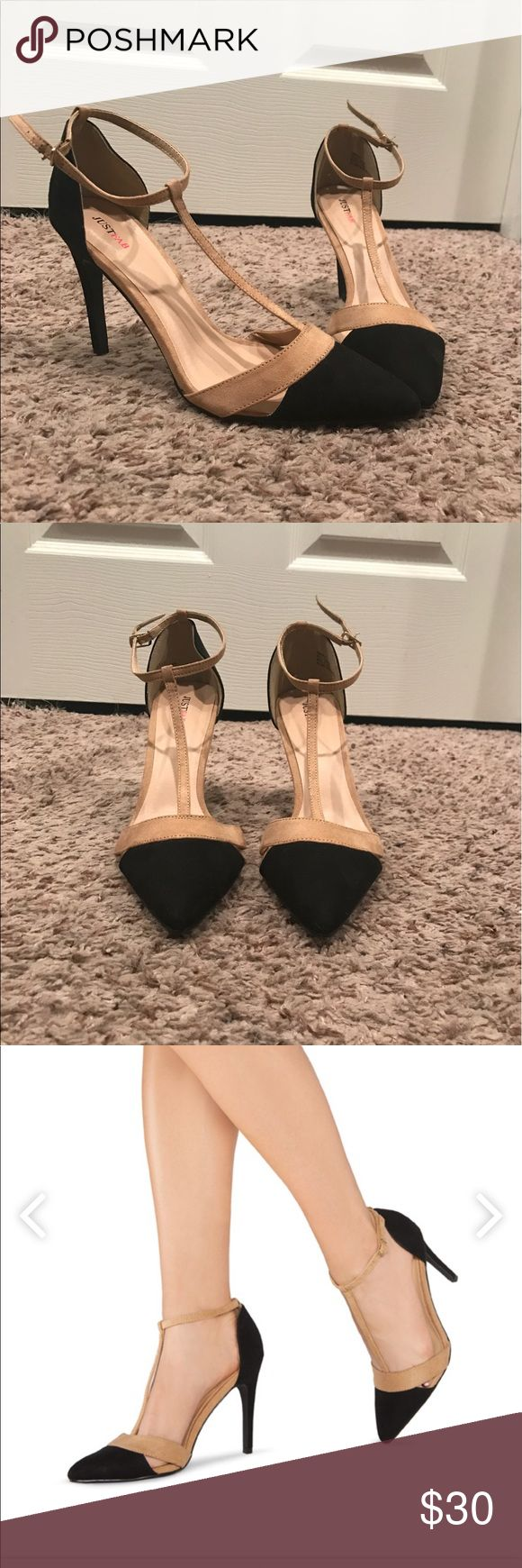 Black and nude pointy toed heels JustFab - brand new- never worn. Size 8.5 JustFab Shoes Heels