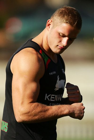 South Sydney Rabbitohs Training Session: George Burgess flexes his arm during a South Sydney Rabbitohs #NRL training session at Redfern Oval on April 24, 2013 in Sydney, Australia.