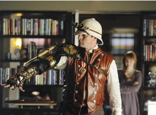 "What is Steampunk?  Perhaps the most recent mainstream point of reference would be the episode ""Punked"" from ABC's popular crime drama, Castle (seen above, with Nathan Fillion featuring an armoured forearm creation from Brute Force Studios)."