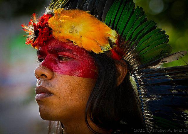 un coloratissimo indio guarani del brasile