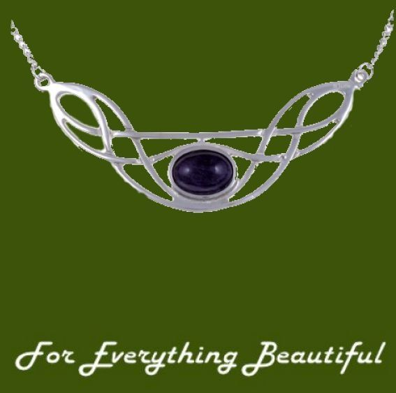 Celtic Bow Knotwork Amethyst Design Stylish Pewter Necklace
