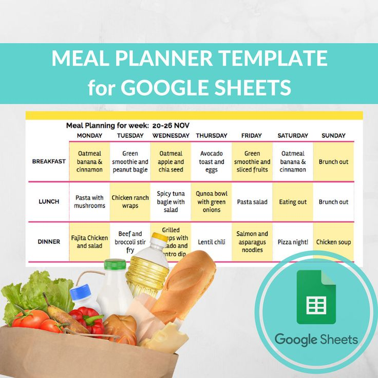 Meal Planner Template Spreadsheet -Grocery Planning Excel