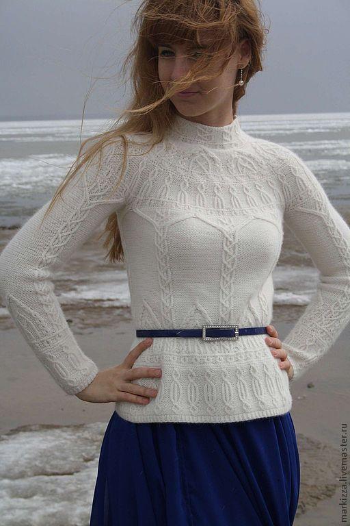 Купить Белые замки - белый, пуловер, пуловер вязаный, ангора, свитер, свитер вязаный