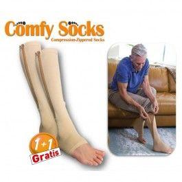 Il prossimo standard in calze a compressione che leniscono e rivitalizzano, le più comode attualmente disponibili!  Sono facili da mettere con la sua zip anti-pizzico e potrete indossarle con qualsiasi tipo di scarpe e persino con i sandali! Le comode calze antifatica COMFY SOCKS placano, massaggiano ed energizzano le vostre gambe per un comfort diurno e notturno.