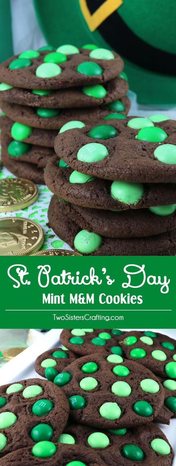Mint M&M Cookies are delicious and easy to make. Pin this delicious St. Patrick's Day treat for later and follow us for more great St. Patrick's Day Food Ideas. GFREE FLOUR!