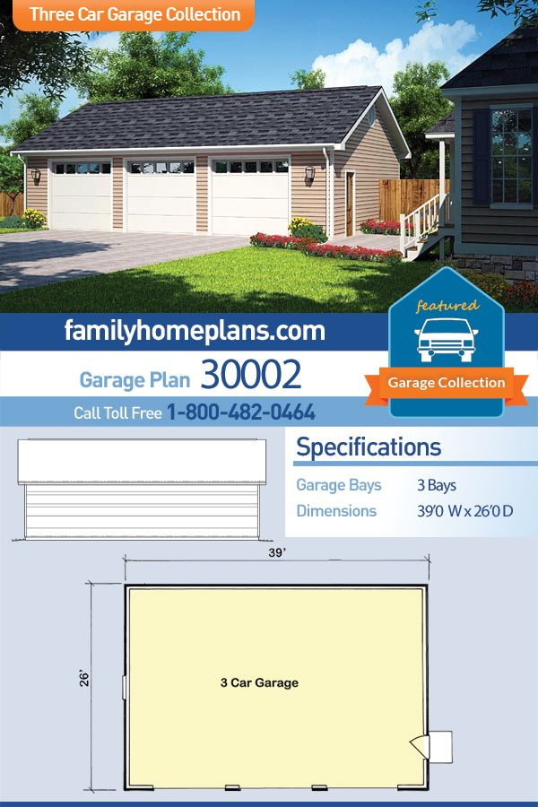 Traditional Style 3 Car Garage Plan Number 30002 Garage Building Plans Garage Plan Craftsman House Plans