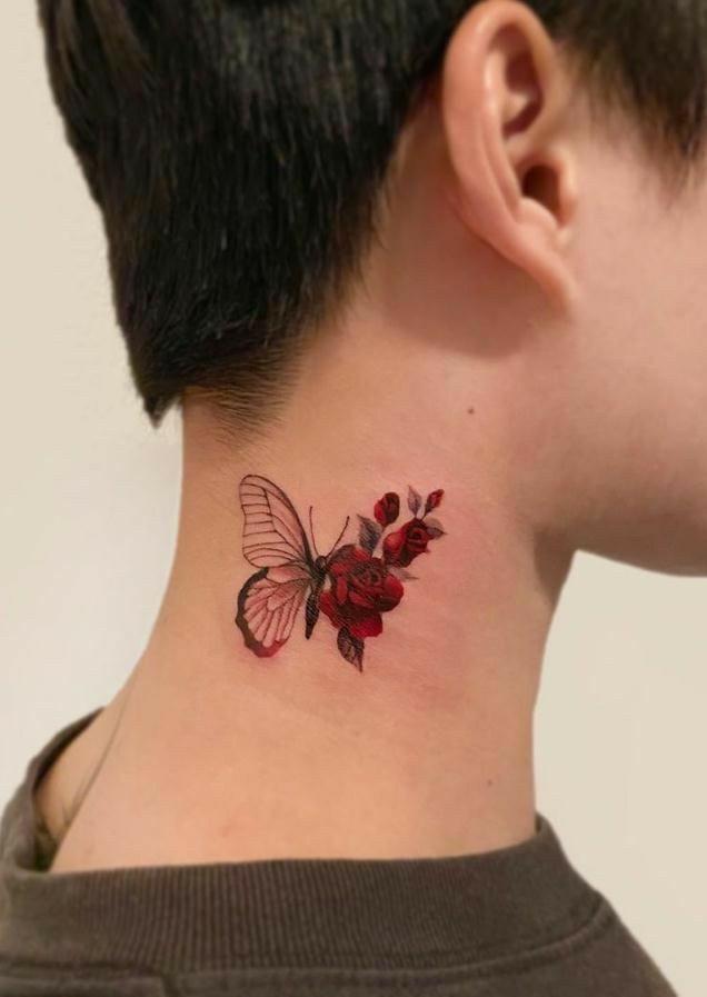 Pin by Jane Nunes on Tatuagem Feminina   Red ink tattoos, Rose tattoos for women, Butterfly tattoos for women