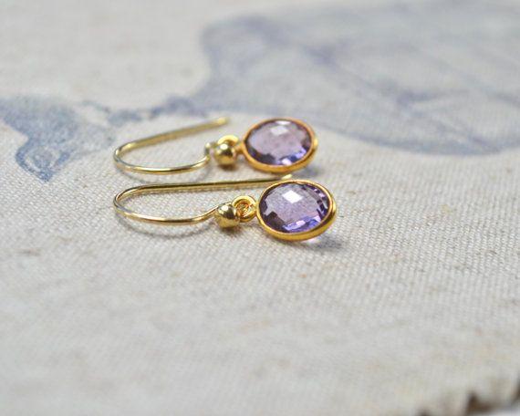 Amethyst gouden oorringen Purple edelsteen oorbellen