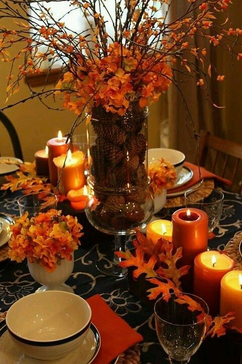 Great fall centerpiece idea Here ate pine cones in a vase. You mentioned this idea what do you think ? Find this Pin and more on Thanksgiving Table Settings ... & 495 best Thanksgiving Table Settings images on Pinterest ...