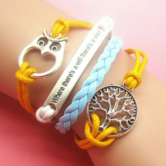 """Blue, Yellow, White Leather Bracelet NEW Adjustable length. New. Silver Accents, Owl, Tree of Life, Infinity Bracelet. 7"""" plus an additional 2 in adjustable chain Jewelry Bracelets"""