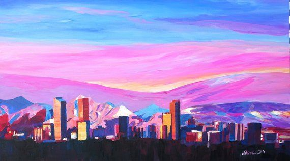 Denver Colorado Skyline With Luminous Rocky Mountains Painting