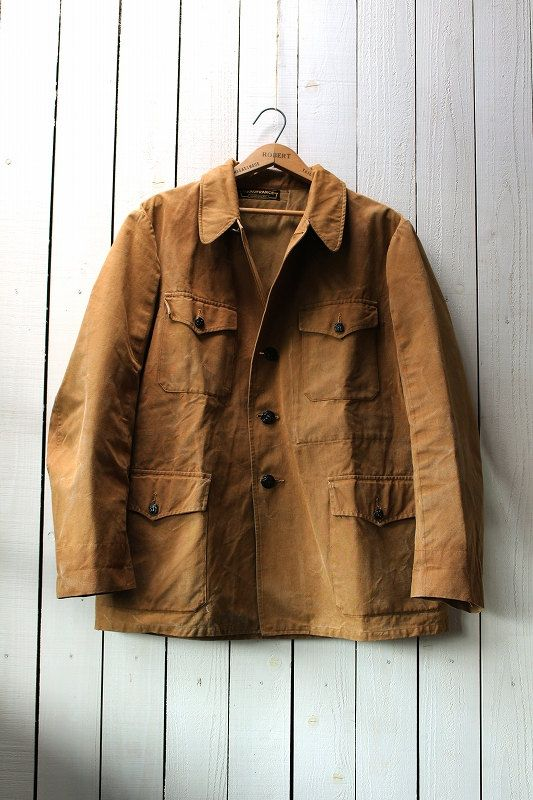 Vintage French hunting jacket/1950's/cotton duck/yellow ocher/animal button/size M/pivot sleeves/manufrance colam