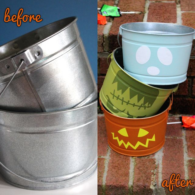 DIY Trick or Treat Halloween Buckets made with Cricut Explore -- Cloudy Day Gray. #DesignSpaceStar Round 4
