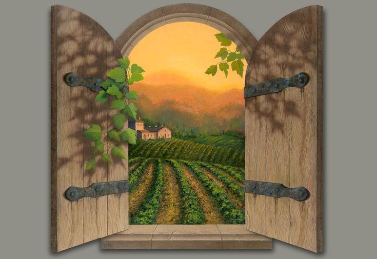 Tuscan Sun- David Miller Window Painting
