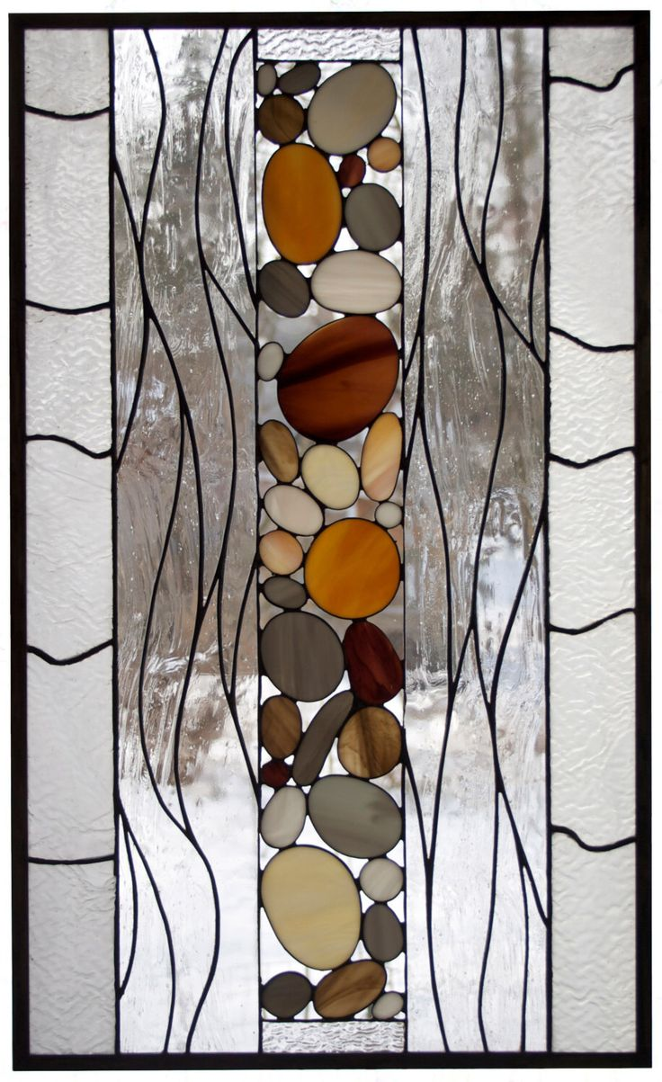 Water and Stones #1 - Stained Glass Panel in clear, brown, and amber glasses, 18x30 by AGlassGarden on Etsy https://www.etsy.com/listing/214931633/water-and-stones-1-stained-glass-panel