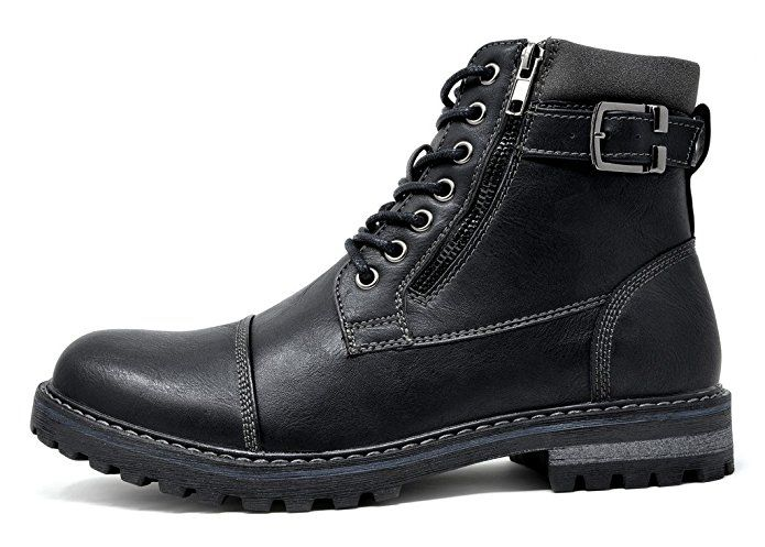 Amazon.com | Bruno Marc Men's Engle-05 Black Motorcycle Combat Oxford Boots  -