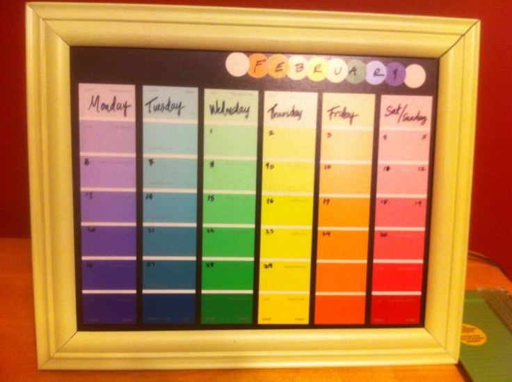 Diy Calendar Paint Chips : Paint chip calendar stuff i actually made from pinterest