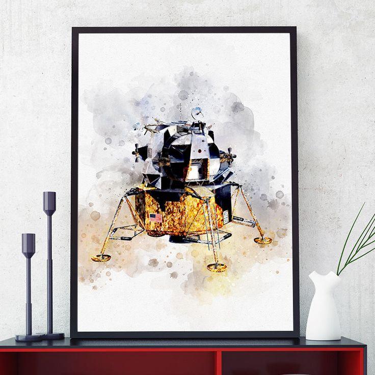 Apollo Lunar Module Print, NASA Poster, Space Age Poster, Watercolour Kids Room Decor, Nursery Wall Art Prints, Nasa Glicee (N305) by PointDot on Etsy