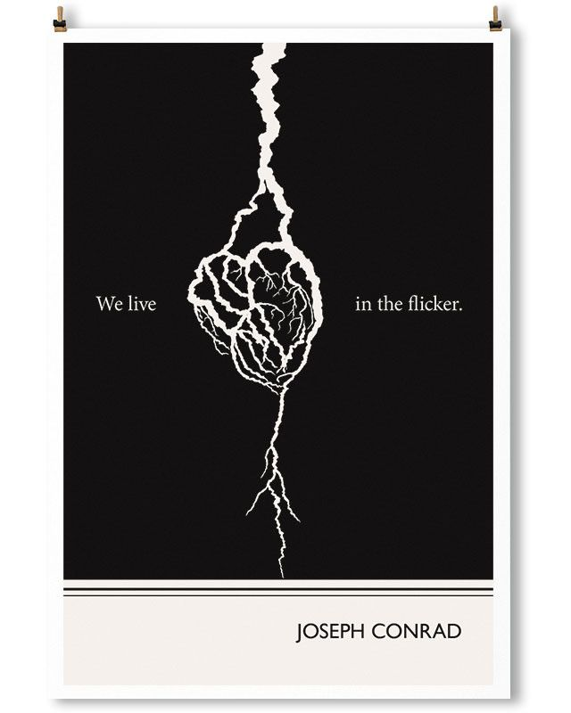 Joseph Conrad art print by Obvious State. Minimalist black and white wall art.