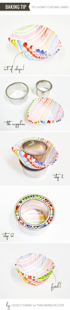 "HOW TO FIX MISSHAPEN CUPCAKE LINERS a BAKING TIP from Lovely Cakes Tools: 1 ¾"" Round Cutter 2 ¼"" Round Cutter STEP 1: Place the liners o..."