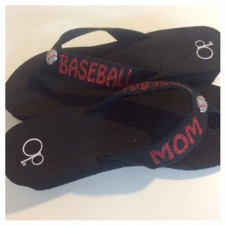 Hey, I found this really awesome Etsy listing at https://www.etsy.com/listing/196404053/baseball-mom-glitter-bling-flip-flops
