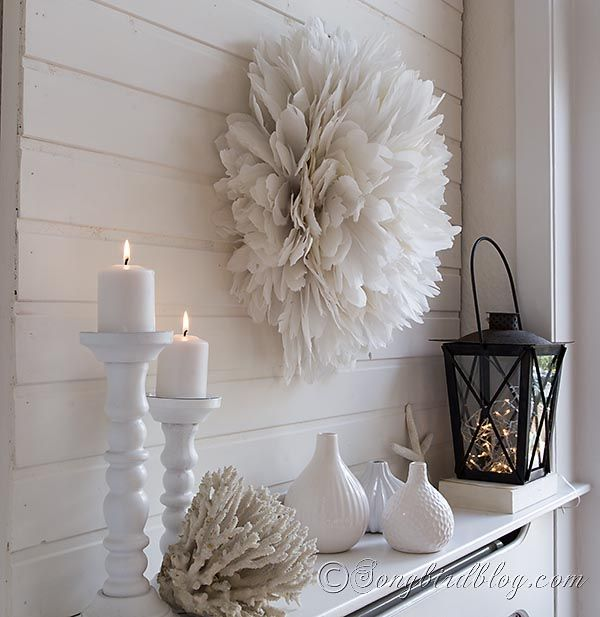 Fabulous feathers wall art African  juju hat white feathers DIY tutorial songbirdblog