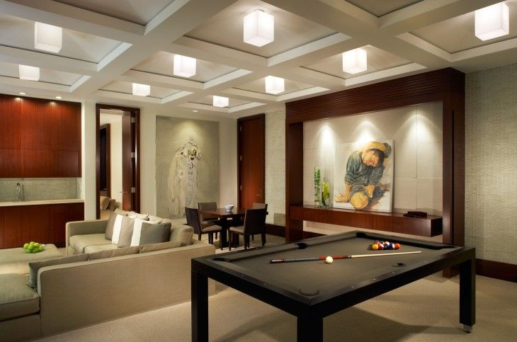Home Design Interior Beautiful Cube Glass Ceiling Lights Over Black Billiard Table - pictures, photos, images