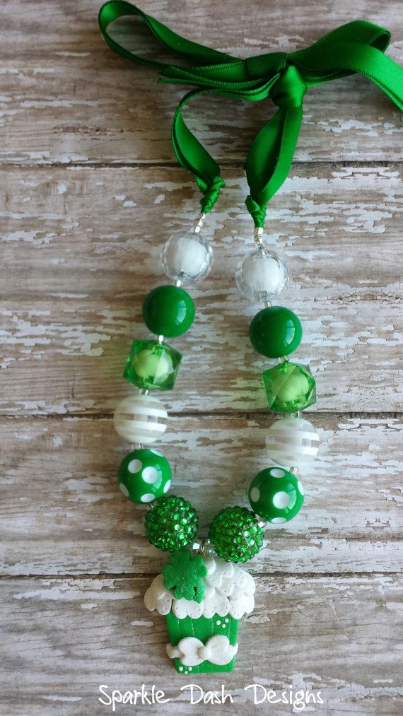 St patrick 39 s day satin ribbon tie chunky beaded necklace for Ribbon tie necklace jewelry