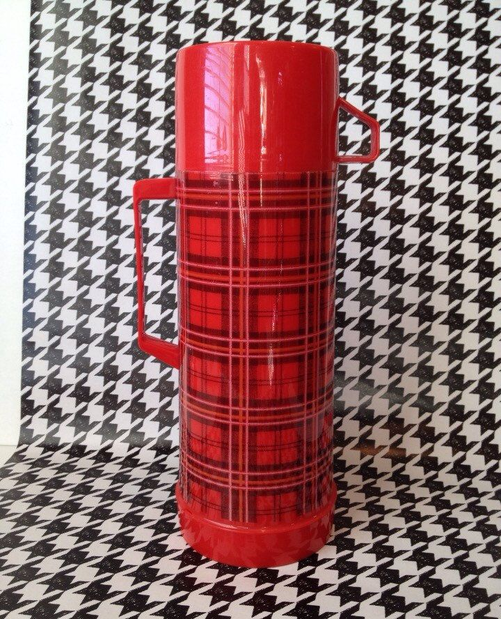 Red Plaid Thermos Aladdin Thermos Christmas Decor Vignette Christmas Thermos Photo Props by SissyBoomsPartyRoom on Etsy