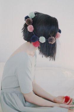: Bobs Haircuts, Birthday Crowns, Pompom, Pom Pom Garlands, Hair Garlands, Head Wreaths, Asymmetrical Hair, Head Accessories, Cool Stuff