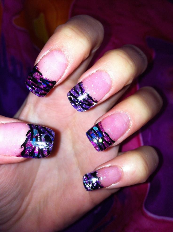 Simple Zebra Acrylic Nails