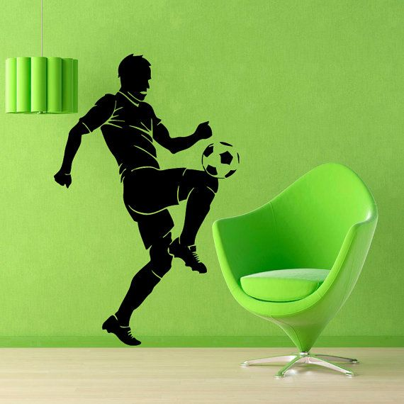 Soccer Wall Decals Man Football Player Sport Gym Boy Wall Decor Decal Vinyl Sticker Home Decor Vinyl Art Wall Decor Nursery Room Decor KG86