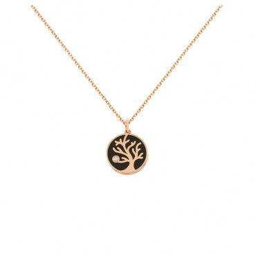 Ένα μοντέρνο κολιέ δέντρο πάνω σε κυκλικό δίσκο από ροζ χρυσό Κ14 με διαμάντι σε κοπή brilliant σε γυαλιστερό φινίρισμα | Κολιέ ΤΣΑΛΔΑΡΗΣ στο Χαλάνδρι #δεντρο #διαμαντι #χρυσο #κολιε