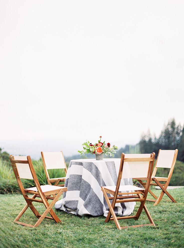 La Tavola Fine Linen Rental: Vintage Stripe Onyx | Photography: Sally Pinera, Event Planning: Alison Event Planning & Design, Floral Design: Natalie Bowen Designs